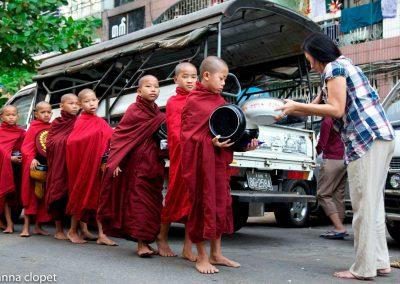monks#Begging#alms#Myanmar#Yangon