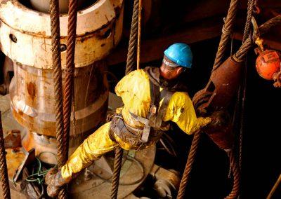 Man giant spanner oil rig