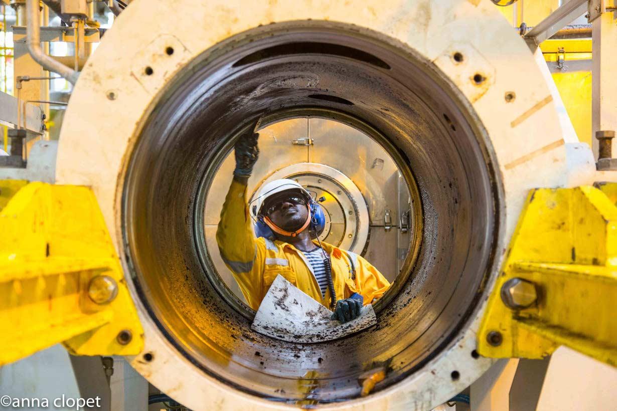 Hard Hat Worker oil riser