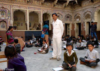 India Rajathan Haveli School children teacher