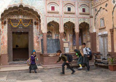 indian school children, haveli,india rajasthan